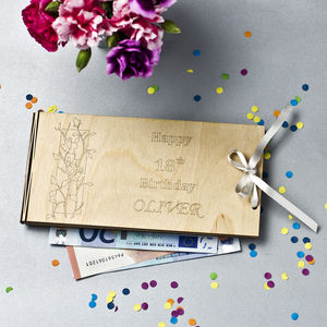 Personalised Wooden Money Envelope For Special Occasion - ribbon & wrap