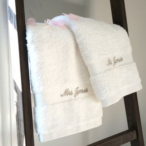 Mr And Mrs Personalised Wedding Towels - bathroom