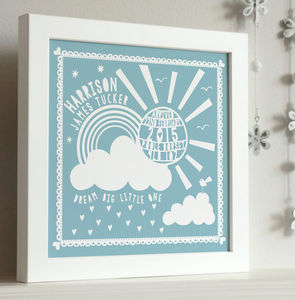Framed New Baby Sunshine Print - personalised gifts