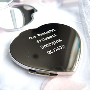 Personalised Silver Heart Compact Mirror - bridesmaid gifts