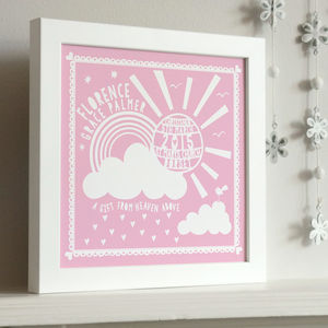 Framed Christening Sunshine Print - personalised