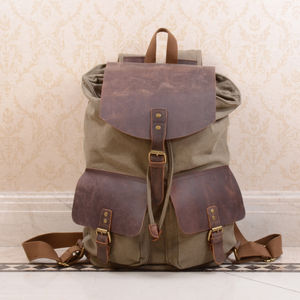 Canvas Leather Double Pocket Backpack