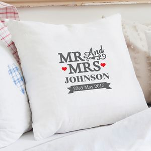Mr And Mrs Personalised Cushion Cover - personalised cushions