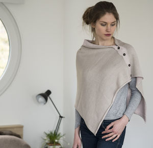 New Alpaca Spring/Summer Reversible Poncho - hats, scarves & gloves