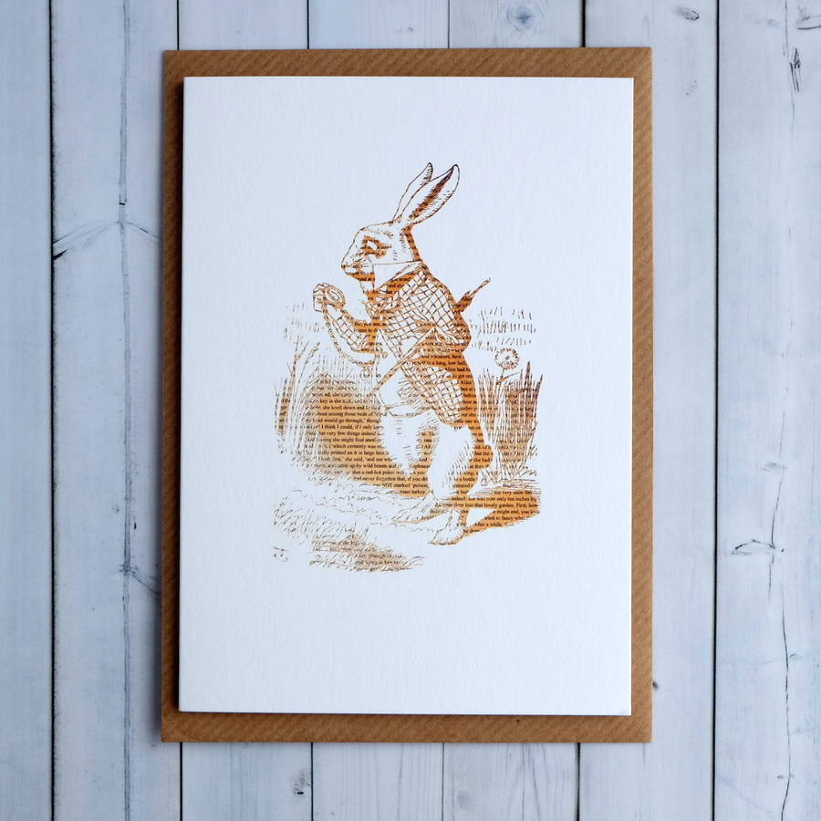 White Rabbit Alice In Wonderland Notecard