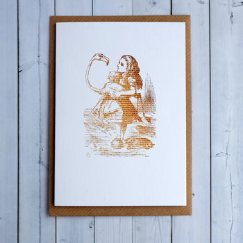 Alice In Wonderland Flamingo Illustration Card