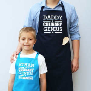 Personalised 'Culinary Genius' Apron Set - children's dad & me sets