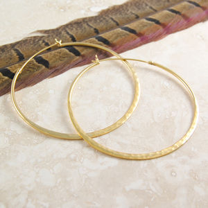 Battered Large Gold Hoop Earrings - earrings