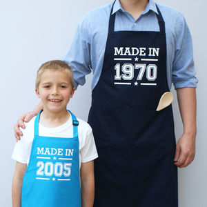 Personalised 'Year Of Birth' Apron Set - children's dad & me sets