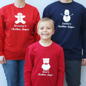 Personalised Family Christmas Jumpers - children's dad & me sets