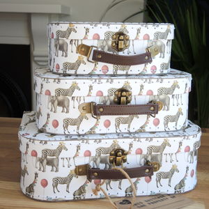 Zebra And Giraffe Suitcase Set Of Three - storage & organisers