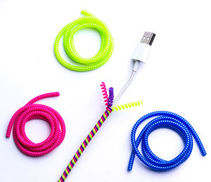 Colourful Charger Cord Wraps - tech accessories for her