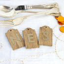 Initial Wooden Place Setting Tag And Keepsake