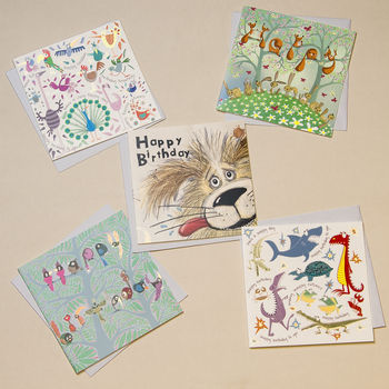 Set Of Five Illustrated Birthday Cards