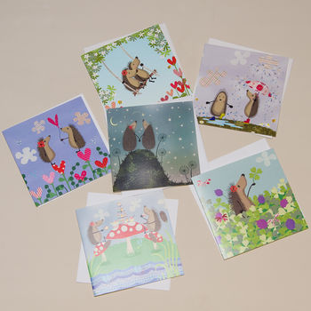Set Of Six Hedgehugs Illustrated Cards
