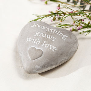 Everything Grows With Love Heart Pebble Keepsake - decorative accessories