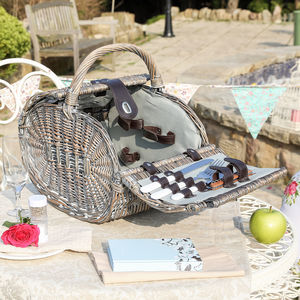 Personalised Kensington Two Person Wicker Picnic Basket - camping