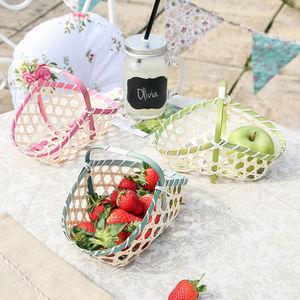 Set Of Three Wicker Fruit Trugs - baskets