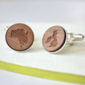 Personalised Engraved Map Cufflinks - womens