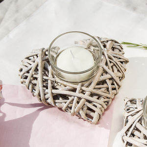 Wicker Heart Candle Tea Light Holder