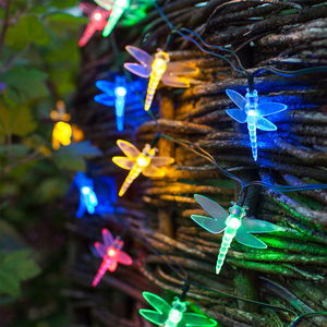 Multi Coloured Solar Dragonfly Fairy Lights - lighting