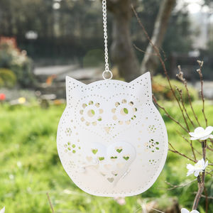 Cream Owl Tealight Hanging - candles & home fragrance