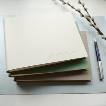 Natural Tones Personalised Leather Guest Book