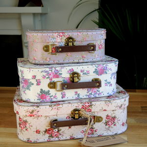 Vintage Rose Suitcase Set Of Three - storage boxes & trunks