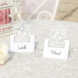 Set Of 10 Pearl White Birdcage Place Cards - what's new