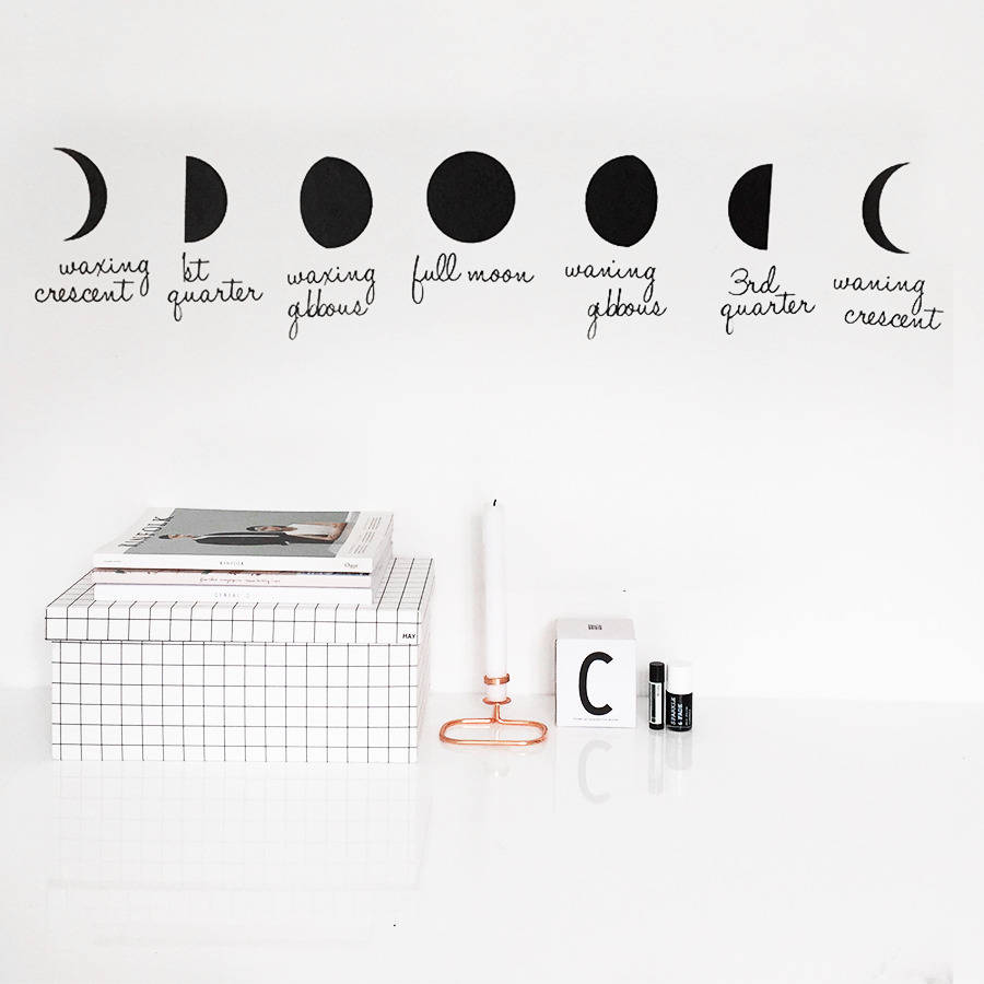 phases of the moon wall sticker by clara ivy. Black Bedroom Furniture Sets. Home Design Ideas