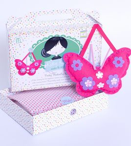Activity Gift Girls Pink Butterfly Sewing Craft Kit