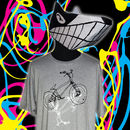 BMX t-shirt modelled by Frank. Black and white print on a grey tee