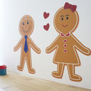 Gingerbread man wall sticker by SnuggleDust Studios available on notonthehighstreet.