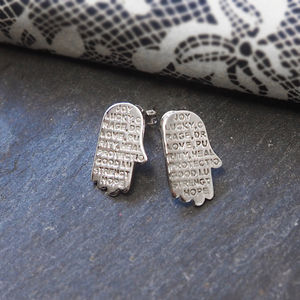 Engraved Inspirational Hamsa Hand Studded Earrings - lucky charm jewellery