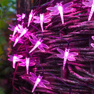 Pink Solar Dragonfly Fairy Lights - fairy lights & string lights