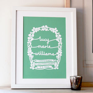 Personalised Christening Papercut Style Art Print