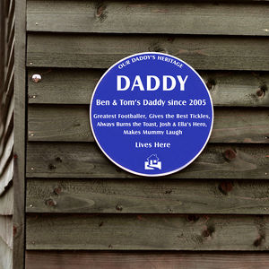 Personalised Blue Heritage Plaque - home accessories