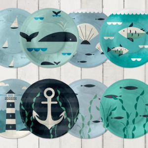 24 Ahoy Nautical Paper Plates - table decorations