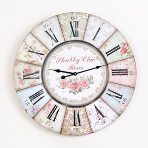 Large Vintage Floral Wall Clock - living room