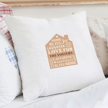 New Home Personalised Cushion Cover