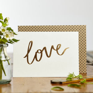 Luxe Foiled Love Card - engagement cards