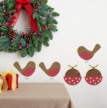 Christmas Pudding And Robins Fabric Wall Stickers