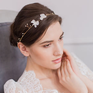 Silk Flower Wedding Hair Vine In Gold Or Silver