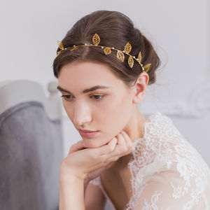 Gold Leaf Wedding Hair Vine - bridal hairpieces