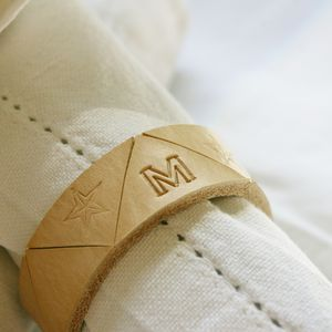 Four Personalised Leather Napkin Rings - table linen