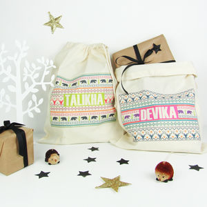 Personalised 'Fairisle' Christmas Sack - stockings & sacks