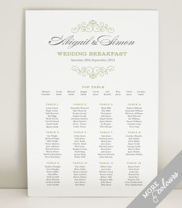 Eva Wedding Table Seating Plan - room decorations