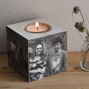 Wooden Photo Cube T Light Holder - candles & candlesticks
