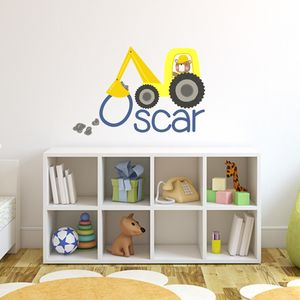 Custom Digger Fabric Name Sticker - wall stickers