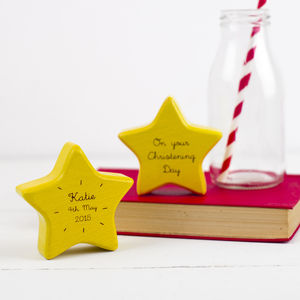 Personalised Wooden Star Christening Keepsake Rattle - keepsakes